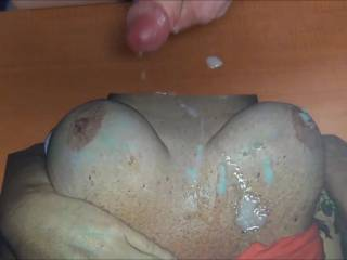 Stroking my cock and cumming on jonsongs sweet cummy tits!