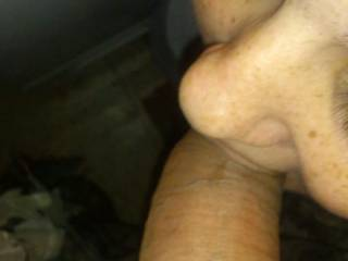 Licking the head before i take his large cock all the way down
