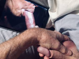 I'm jealous and squeezing my balls as I begin to stroke my cock.