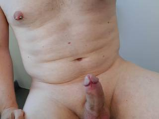 View from above . You like my big hard cock and cockhead ?