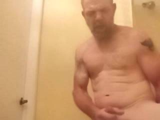 I put in half on a motel room so I could use the shower and fuck my self l fucking love to stroke my dick on camera.