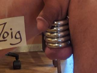 A few weeks ago, I had my rings on with my balls oiled up. I was walking across the room and all four rings slid off noisily.  I bought a new ring, the bottom one. Not magnetic, secured with an allen bolt. And small enough that one testicle won\'t fit.