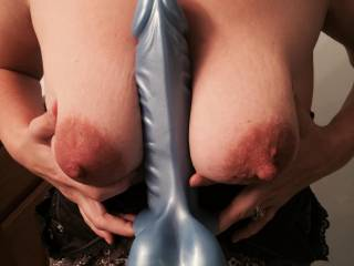 """This big boy is my favorite toy!  He makes me cum so hard...  My pussy is spoiled now and that's why I only play with big cocks now.  8""""+ please!  Otherwise I'll just use this guy instead!"""