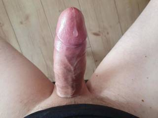 Small drop of precum flow out my hard cock after I played with vacumpump