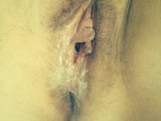 A freshly fucked pussy full of my cum. Any more married sluts that want me to fill  their  pussy