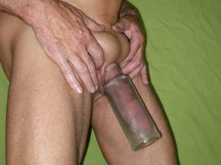 Pumping my little cock and holding my balls up inside