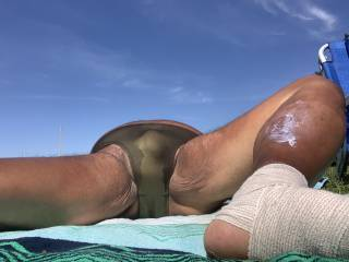 Sunbathing, Bayonne Park, bikini, bulge