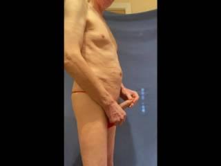 Adjusting the pose in my undies.