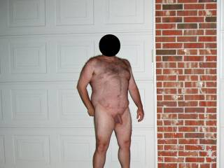 Hubby posing nude in the front yard!  He was so exposed and nervous...made my pussy wet...I loved it!