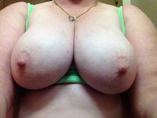 Yum! Love to suck your gorgeous tits & see them bounce while u ride my hubby's cock