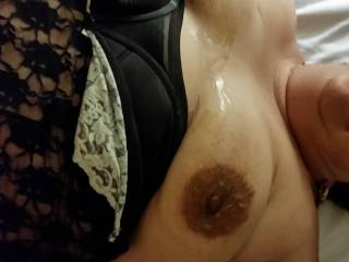 Blew a load on my lady friend's tits, who wants the next one?