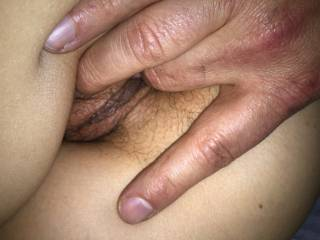 in her tight pussy