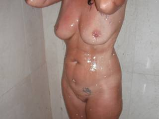 Showering at the Hotel on holiday.
