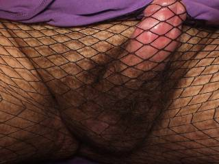 Just a cock shot of me when wearing fishnet tights, I am mostly straight, but love the feel of things like that on my dick.