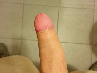 """Being horny at work. Pulled back the foreskin, as requested by """"bay232668"""" :)"""