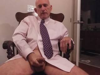 Hubby could not wait for wife to cum home. He could not get totally undressed before stroking his cock and cumming while thinking about those special Zoig ladies. (You know who you are!)