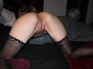 a view of a random, spontaneous visitor..came prepared wearing stockings and heels and wanted one thing.   She has a pussy that hugs a cock, and gets juicy! She was happy when she left