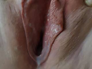 My beautiful cunt after she was well used! Would someone please lick me clean?