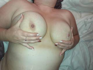 She loves to rub my hot sexy cum all over her tits!!!!