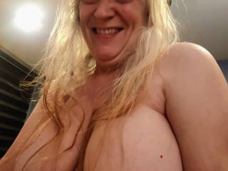 I am so happy you want to put your throbbing cock between my married tits.