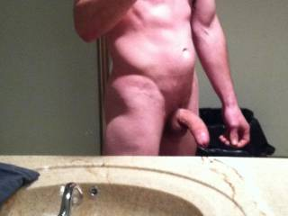 Getting naked at work and taking some pics in the mirror
