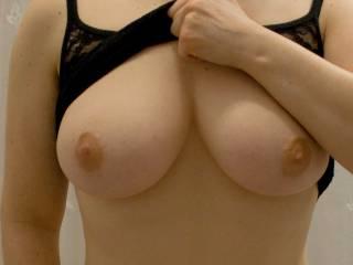 Wow! Amazing beautiful tits MsLil! I wanna squeeze em,kiss em,nibble em,lick em,suck em,fuck em and cum all over your big tits! May I?
