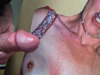 Shooting my cumload on smee69\'s pretty face and tits!