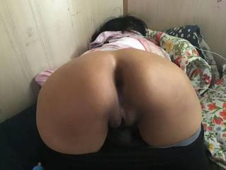 ready for doggy style, she needs a thick meat slide in her pussy to make it creamy wet