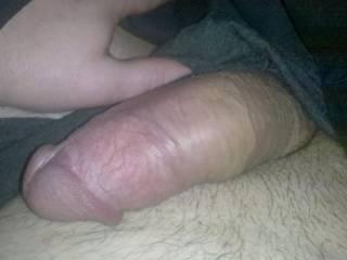 Semi-erect cock for display.