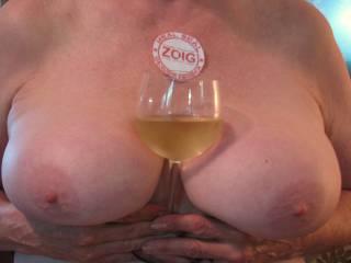 Mr. RR prefers his white wine served at boob temperature.