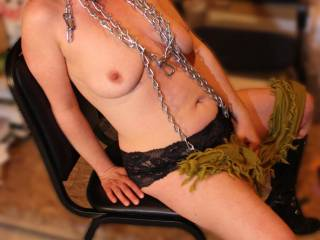 Fantastic erotic pic of the sexy Suzi is such a huge turn on viewing her hot body in chains!