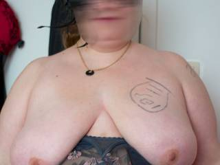 Young BBW friend showing her big tits. Do you like them?