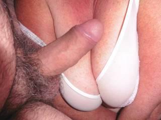 His cock again v my big tits. Giving them a good slap