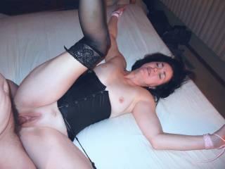 Bed tied bondage sex.