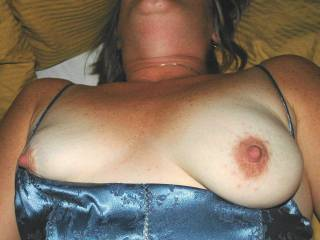 A GREAT day! My GF let me post some pics as long as put mask on her! These are from a year ago before she got her new tits! I liked her old tits also! Blue sex session. She will only approve the pics before I post! Hope she likes and will let me do more!