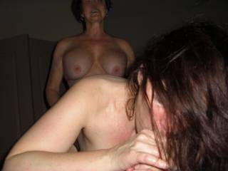 Wife fucking girl with strap on while she sucks my cock !