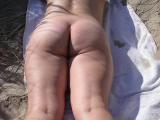 Catching some sun at a public beach
