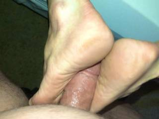 While he fucks my soles, he licks  my gaping asshole