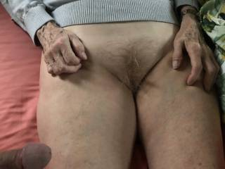 I'm just about to open her sweet pussy with my mature, hard cock.