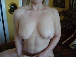 cum on her gorgeous tits