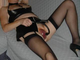 mmmm, terrific picture!  love seeing you in those sheer stockings and sexy heels pumping your pussy up.  now if we could get you to make a video that would be perfect!!!