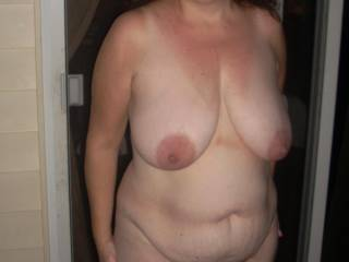 naked at night outside the house, nice tits