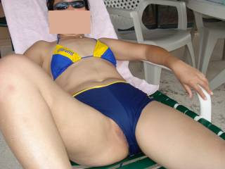Just having some fun by the pool. She was so horny that day!