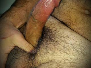 Getting my cock harder and playing with my tight n hairy big balls. I can feel my cum ready to shoot outta these juicy balls! Wish I had some help.