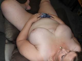 Put your cock in my mouth and play with my tits!