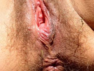 This is real aroused me in cock hunger. My natural gaping pussy and swollen asshole in close up.