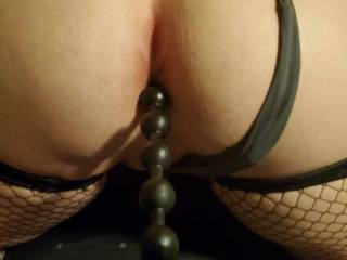 My wife taking some beads the other night, she loves anal and has such a nice asshole. Who would love to take it for a ride?