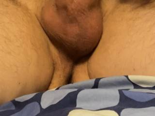 His balls were all swollen and ready to cum but he still wanted more