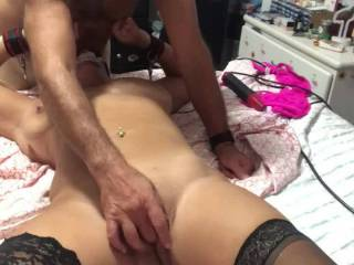 Break time as i finger her gorgeous pussy for her pleasure and your enjoyment