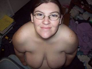 Wife looking up waiting for a load of cum all over her face who wants to provide her a load of cum